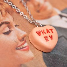 Necklace - Sweetheart Candy Anti Valentines Day Orange Sherbet WHAT EV Handmade by Roscata. $18.00, via Etsy.