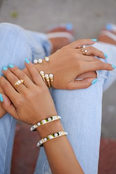 Gold and Pearl Layered Bracelets