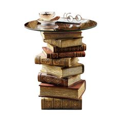 Image of Power Of Books Sculptural Glass Topped End Table
