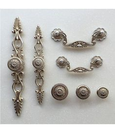 French Shabby Chic Dresser Drawer Pulls Handles / Antique Silver Kitchen Cabinet Pull Handle Knobs Furniture Hardware by Anglehome on Etsy