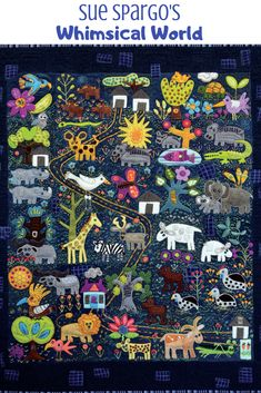 Sue Spargo is well-known for her unique, layered designs using brightly colored wools and hand. Wool Applique Quilts, Wool Applique Patterns, Wool Quilts, Wool Embroidery, Felt Applique, Quilt Patterns Free, Baby Quilts, Dress Patterns, Hand Quilting