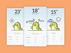 Funny Dino illustration weather app by Awesomed #Design Popular #Dribbble #shots