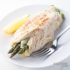 Healthy asparagus stuffed chicken breast makes a quick and easy weeknight dinner! If you like easy low carb recipes that you can make in 30 minutes start to table, you need to try this asparagus stuffed chicken recipe.