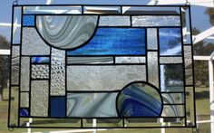 Clear and Blue Textures and Beveled Glass Panel by GleamingColours, $125.00