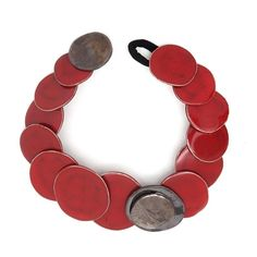 Red ceramic necklace by Maria Diana.