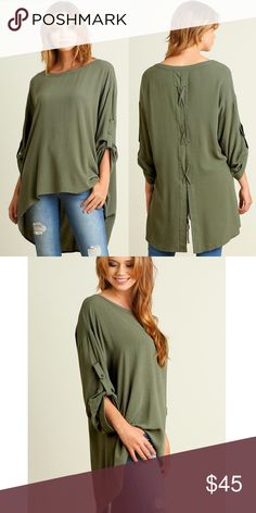 """MILAYA roll up sleeve hi-lo tunic top - OLIVE Roll Up Sleeve Tunic with Hi Lo Hemline featuring Tie Details on Back   *HEIGHT OF MODEL: 5'9"""" / SIZE: SMALL NO TRADE, PRICE FIRM Bellanblue Tops Blouses"""