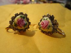 """New Listing Started vintage screw in earrings goldtone heart shaped floral ceramic clear stones 1/2"""" £2.55"""