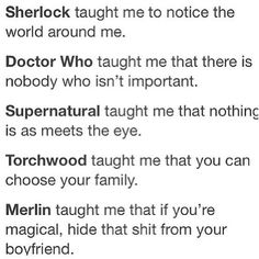 Why we watch BBC. I don't ship Merlin and Arthur, but this is still funny >> supernatural is not a BBC show, idjit