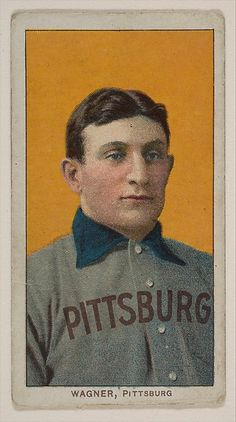 Honus Wagner, Pittsburgh, National League, from the White Border series (T206) for the American Tobacco Company, 1909 -1911.  Very rare card.  Mr. Wagner didn't want children buying tobacco, so he didn't want his name or picture associated with the product.