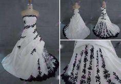 A-line-weiss-schwarz-Ballkleid-Hochzeitskleid-Brautkleider-Abendkleid-Gr36-38-40
