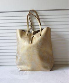 Washed Cowhide Soft Shrunk Leather Bag Vintage GOLD by BagDoRi