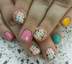 Polka dots easter nails