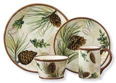 Walk In The Woods Dinner Plate, Salad Plate, Cereal Bowl & Ceramic Mug