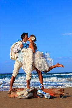 Beach Wedding - shoes and Bride and Groom