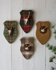 H6XQK French Laundry Home Plaques with Faux Antlers--cover with my own fabric (not plaid, though!)