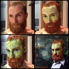 Van Gogh Halloween costume. I want to try this, but I'm not exactly a guy with a beard.