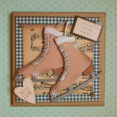 Vintage style ice skates make this card so special, created by Spotty Daisy