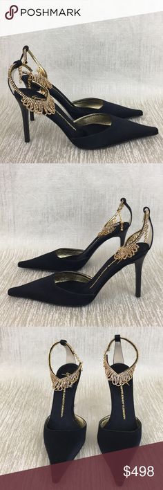 🆕 GIUSEPPE ZANOTTI NEW CRYSTAL HEELS 💯AUTHENTIC 🆕 GIUSEPPE ZANOTTI NEW NEVER USED CRYSTAL EMBELLISHED ANKLE STRAP HEELS 💯AUTHENTIC ! STUNNING AND STYLISH ALWAYS ON TREND! TRUE SUPER HIGH END LUXURY AND STYLE! PURCHASED AND NEVER WORN! THEY ARE BLACK WITH GOLD SWAROVSKI CRYSTAL ANKLE STRAPS . THE SIZE IS 38. 5 WHICH CONVERTS TO AN AMERICAN 8.5. THE HEEL HEIGHT IS 3.75 INCHES. THESE ARE TRULY GORGEOUS SHOES! Giuseppe Zanotti Shoes Heels Ankle Strap Heels, Ankle Straps, Shoes Heels, Beautiful Outfits, Beautiful Clothes, Zanotti Shoes, Fashion Tips, Fashion Design, Fashion Trends