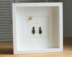 Amor pareja guijarro arte - regalos para su arte de la pared - regalos para él - día de San Valentín - compromiso - Home Decor-