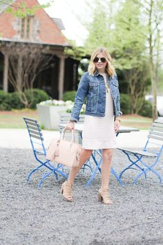GlamGrace - By Tabby Pale pink summer shift dress and and pink Tory Burch handbag. Denim jacket