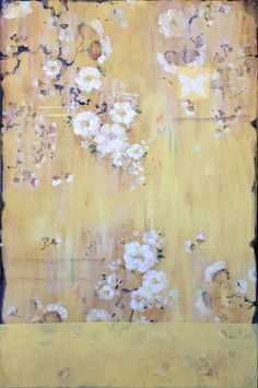 Kathe Fraga paintings inspired by the romance of vintage Parisian wallpapers and Chinoserie Ancienne  Beyond The Lace Curtains, The Sweet Scent of Morning Roses, 36x24 inches on frescoed panel  www.kathefraga.com