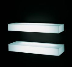 "LIGHT-LIGHT Modern Illuminated Wall Mounted Glass Shelf with Light - Wall Shelves - White by GlasItalia - The Light-Light illuminated wall mounted shelf was designed by Nanda Vigo for the prestigious Glas Italia in Macherio, Italy. This a collection of consoles made of glued 0.2"", (6mm) thick tempered glass plates with a 45° chamfered edge. The glass plates are opaque white. The console or shelf is equipped with a neon light in its inside. The Light-Light is a brilliant wall mounted shel..."