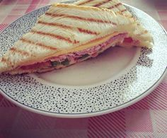Really quick toast for lunch with ham, lettuce, tomato and cheddar