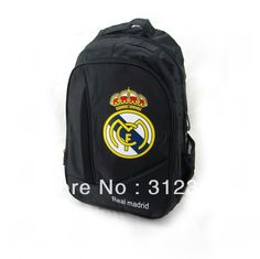 This is a beautiful, big, black, backpack. The backpack has a picture of the Real Mdrid's emblem. It has a price of two hundred and fourty pesos