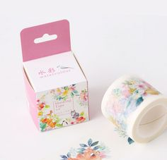 I love watercolor designs and when I saw this cute floral washi tape / masking tape, I just had to buy it! It's really thick and has 5 different adorable designs! Absolutely love it! #washi #flower #floral #animal #cute #masking #tape
