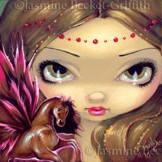 Faces of Faery #89 Pink Pegasus Tiny Flying Horse by strangeling by Jasmine Becket-Griffith
