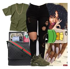 A fashion look from June 2016 featuring Rothco t-shirts, NIKE sneakers and Givenchy necklaces. Browse and shop related looks. Cute Swag Outfits, Chill Outfits, Dope Outfits, Trendy Outfits, Summer Outfits, Black Girl Fashion, Teen Fashion, Fashion Outfits, Teenager Outfits