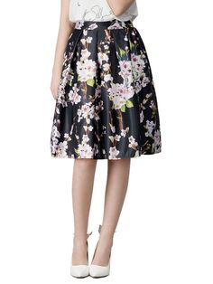 Christmas Thanksgiving Gifts Choies Black Sakura Skater Skirt With Pleat  Dress #Choies #sexy #fashiondesign