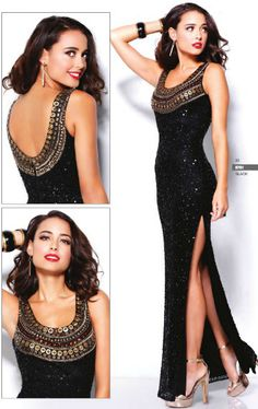 3781SH Low scoop neck hand beaded embellished neckline Gown