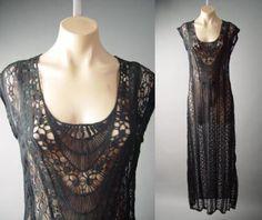 Black-Crochet-Doily-Sheer-Lace-Victorian-Goth-Tea-Gown-Long-Slip-131-ac-Dress-M