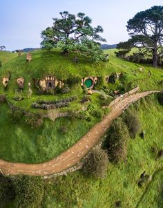 Magical scenery Hobbiton Movie Set New Zealand. Photo by Hobbit Hole, The Hobbit, Tolkien, Casa Dos Hobbits, Places To Travel, Places To Visit, Underground Homes, Earth Homes, Earthship