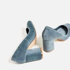 Velvet shoes at Zara, gray grey blue heels, chunky heels Velvet Block Heels, Velvet Shoes, Blue Velvet Heels, Block Heel Pumps, Pale Blue Heels, Blue Block Heels, Blue Suede Shoes, Cute Shoes, Me Too Shoes