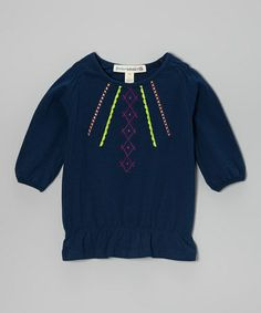 This Navy Embroidered Tunic - Girls by Freedom Daisey is perfect! #zulilyfinds