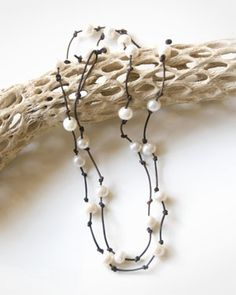 Multi Pearl Necklace with Brown Leather Cord 30 inches find glass pearls at http://www.ecrafty.com/c-595-glass-pearls.aspx