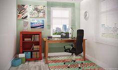 Conjunto Home Office com Mesa, Cadeira e Estante Castanho/Vermelho/Preto - Caaza