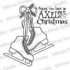 "Figure skating Christmas card: ""Hoping you have an AXELent Christmas"""