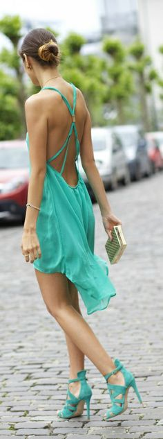 sexy turquoise summer dress
