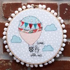 Come Fly With Me Hoop Art with Pattern