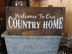 Welcome Sign Welcome To Our Country Home Montana Wooden Sign Hand Painted Rustic Country Primitive Farmhouse Christmas FTTeam OFG Team on Etsy, $20.00
