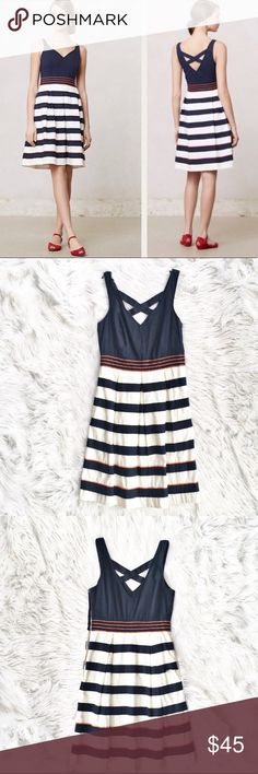 """Anthropologie Leifnotes Brigantine Regatta dress Lovely nautical inspired Brigantine Regatta dress, size 0 from Leifnotes (Anthropologie). Full striped skirt with beading, crossed back, concealed zipper on the fully lined. A couple beads are missing (pictured), otherwise excellent condition. Flat measurements are bust 16"""", waist 13"""", length 36.5"""". Anthropologie Dresses Mini"""