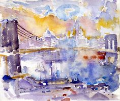 John Marin Brooklyn Bridge, 1912 Watercolor and graphite on paper 15 in. cm x cm) Gift of John Marin, Jr. and Norma B. Painter Artist, Artist Art, Watercolor Artists, Watercolor Paintings, Watercolors, Abstract Watercolor, Artist Birthday, Pablo Picasso, Abstract Landscape