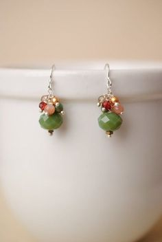 Unique gemstone cluster   silver earrings handmade in our Floyd c8a354888470