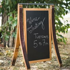 Our brand new Napa Barrel Stave Sidewalk Stand is the perfect chalkboard sign for your event or business! We've repurposed authentic Napa Valley wine barrel staves into this handcrafted sign, which includes everything except the chalk that you need to… Barrel Projects, Wood Shop Projects, Sandwich Board Signs, Wine Barrel Crafts, Whiskey Barrel Furniture, Napa Style, Winery Tasting Room, Wine Decor, Wine Design