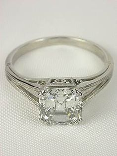 Asscher Cut Diamond Antique Engagement Ring