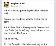 He actually puts the best things on Facebook lol #StephenAmell #Arrow