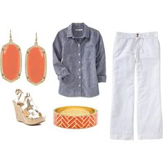 Have the shirt and the pants. Need coral earrings and to remember this outfit. So cute.
